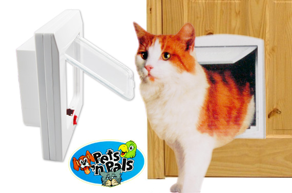 Visit Universal 4 Way Locking Cat Flap Door with Tunnel for Hollow/Thick Doors or Walls