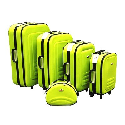 Visit 5pc Suitcase Trolley Travel Bag Luggage Set -Green