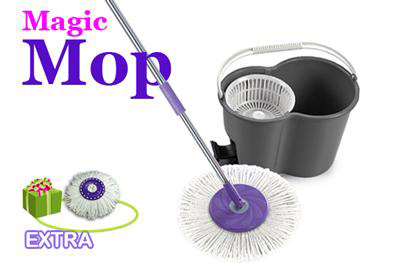 Visit 360 Degree Magic Mop with Bucket and Spin Dry Device and 2 Mop Heads