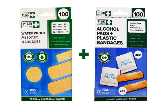 Visit 200 Pcs Assorted First Aid Bandages and Alcohol Pads