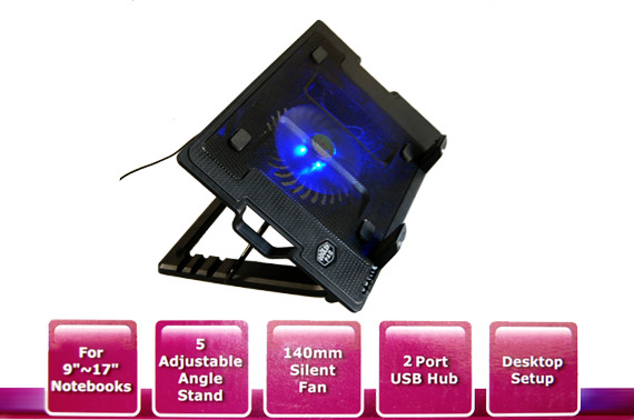 Visit Angled Laptop Stand with Cooling Fan and USB Hub
