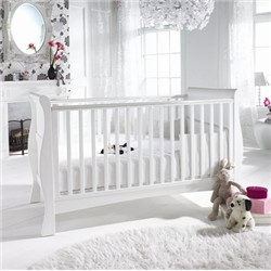 Visit 3-in-1 Baby Sleigh Cot,Toddler Bed,Sofa - White