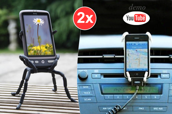 Visit 2x Spider Holder for iPhone, Camera, MP3 Player, GPS, Drink and More