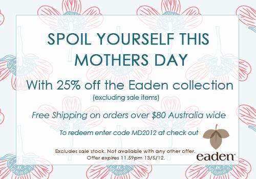 Eaden Sleepwear coupons: 25% off Mother's Day