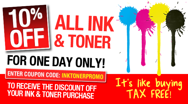eStore coupons: 10% OFF ALL INK AND TONER