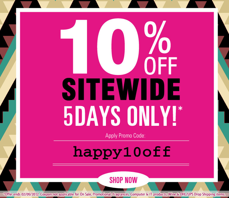 Crazy Sales coupons: 10% Off Sitewide