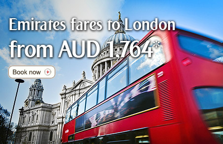 Emirates fares to London from AUD 1,764*