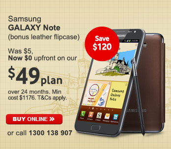 Vodafone Australia coupons: Samsung GALAXY Note
