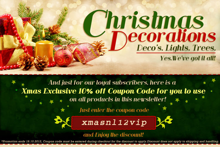 Crazy Sales coupons: 10% off Christmas decorations