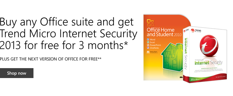 Microsoft Store coupons: Get Trend Micro Internet Security 2013 for free for 3 months