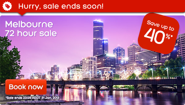 Hotels.com coupons: Melbourne 72 hour Sale