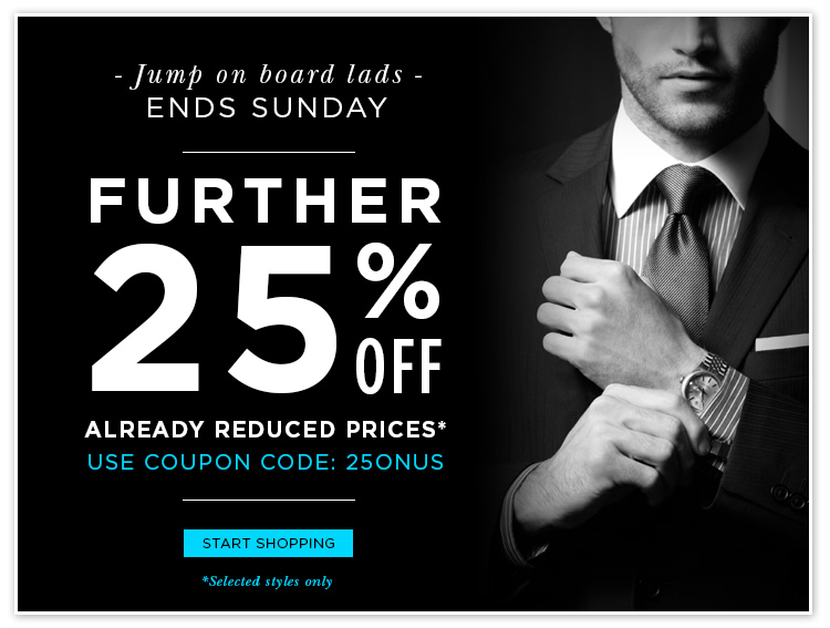 The Mens Shop coupons: 25% off reduced prices
